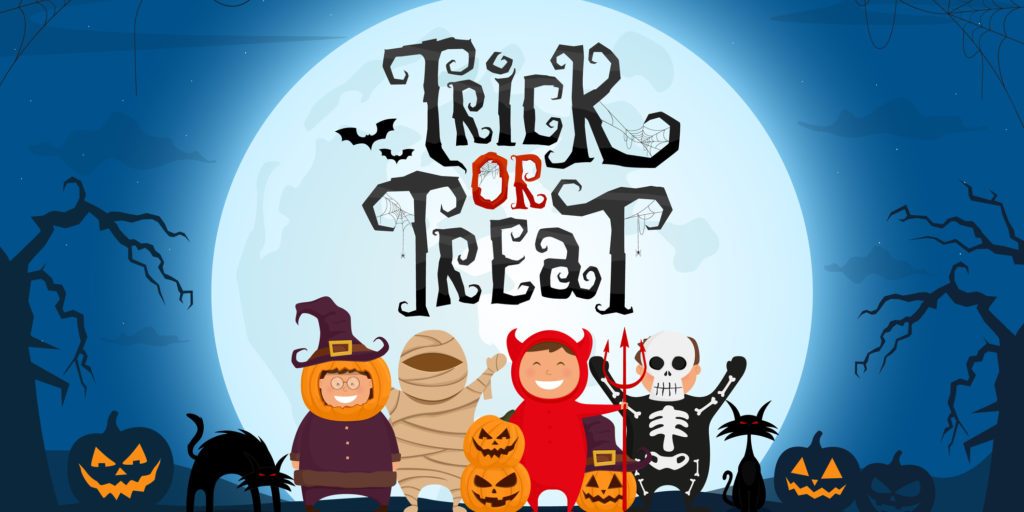 Cartoon graphic of trick-or-treaters